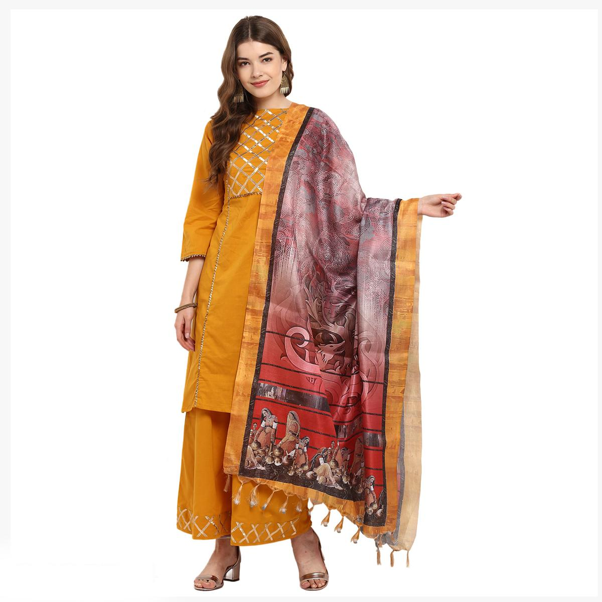 Staring Multicolored Digital Printed Khadi Silk Dupatta
