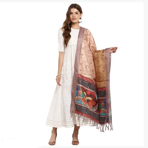 Pleasance Peach Colored Digital Printed Khadi Silk Dupatta