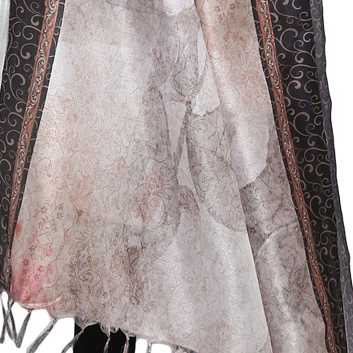 Impressive Cream Colored Digital Printed Khadi Silk Dupatta