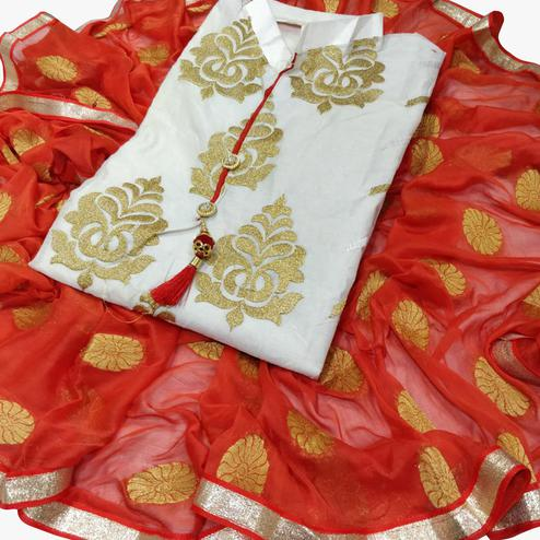 Favorite White-Red Colored Partywear Embroidered Chanderi Silk Dress Material