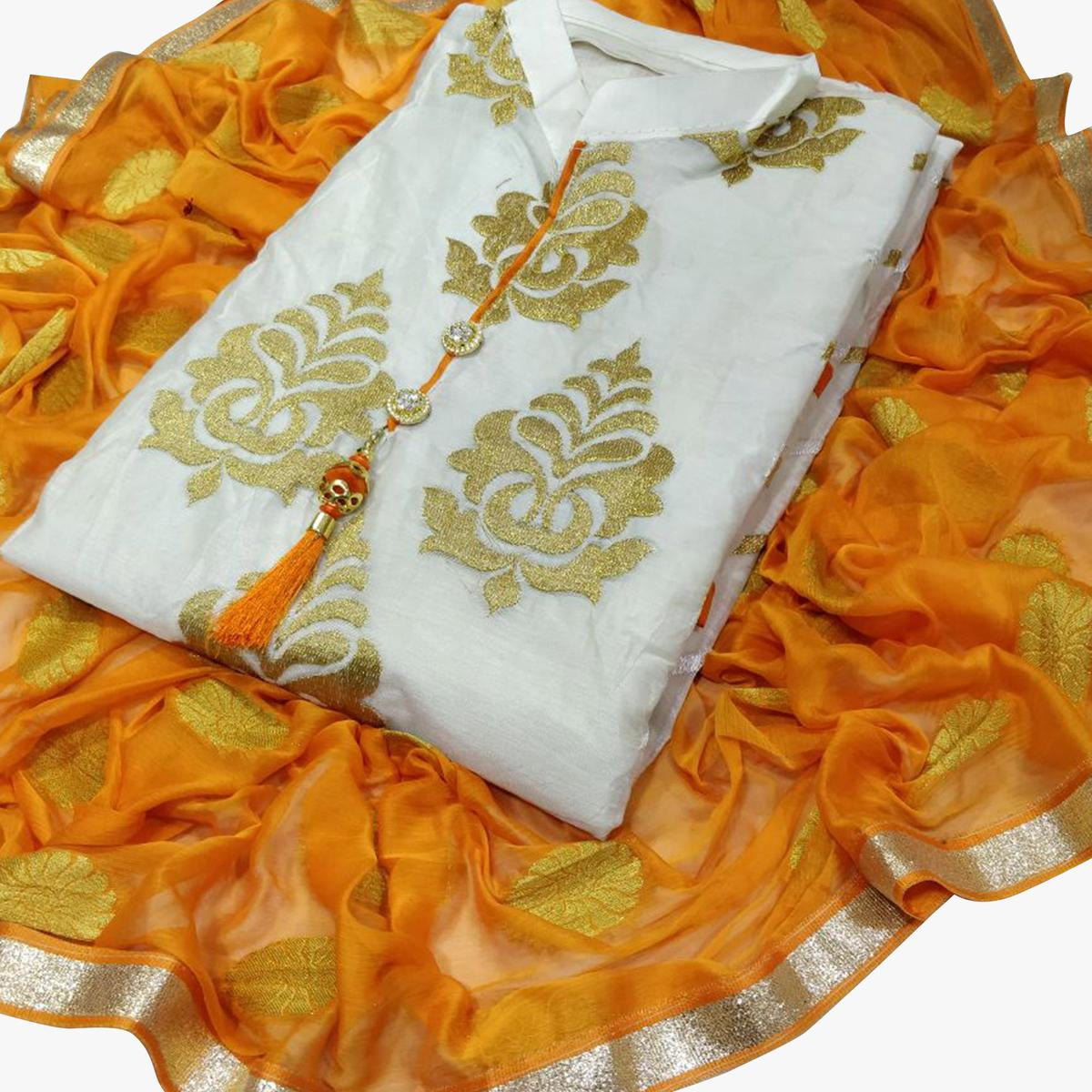 Glowing White-Yellow Colored Partywear Embroidered Chanderi Silk Dress Material