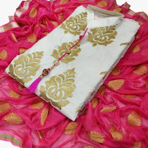Charming White-Pink Colored Partywear Embroidered Chanderi Silk Dress Material