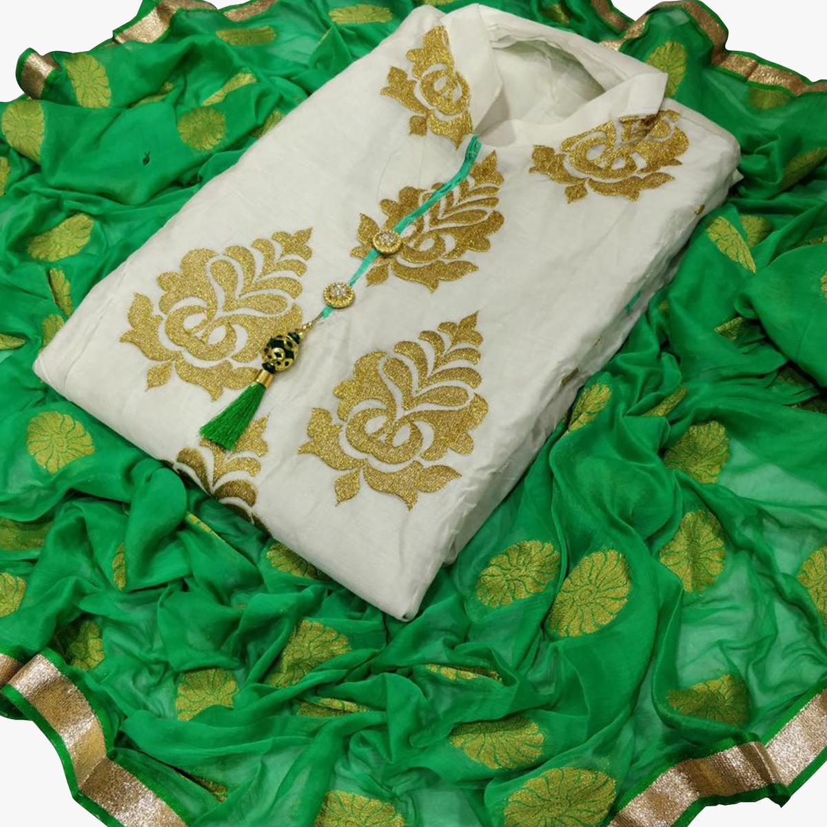 Appealing White-Green Colored Partywear Embroidered Chanderi Silk Dress Material