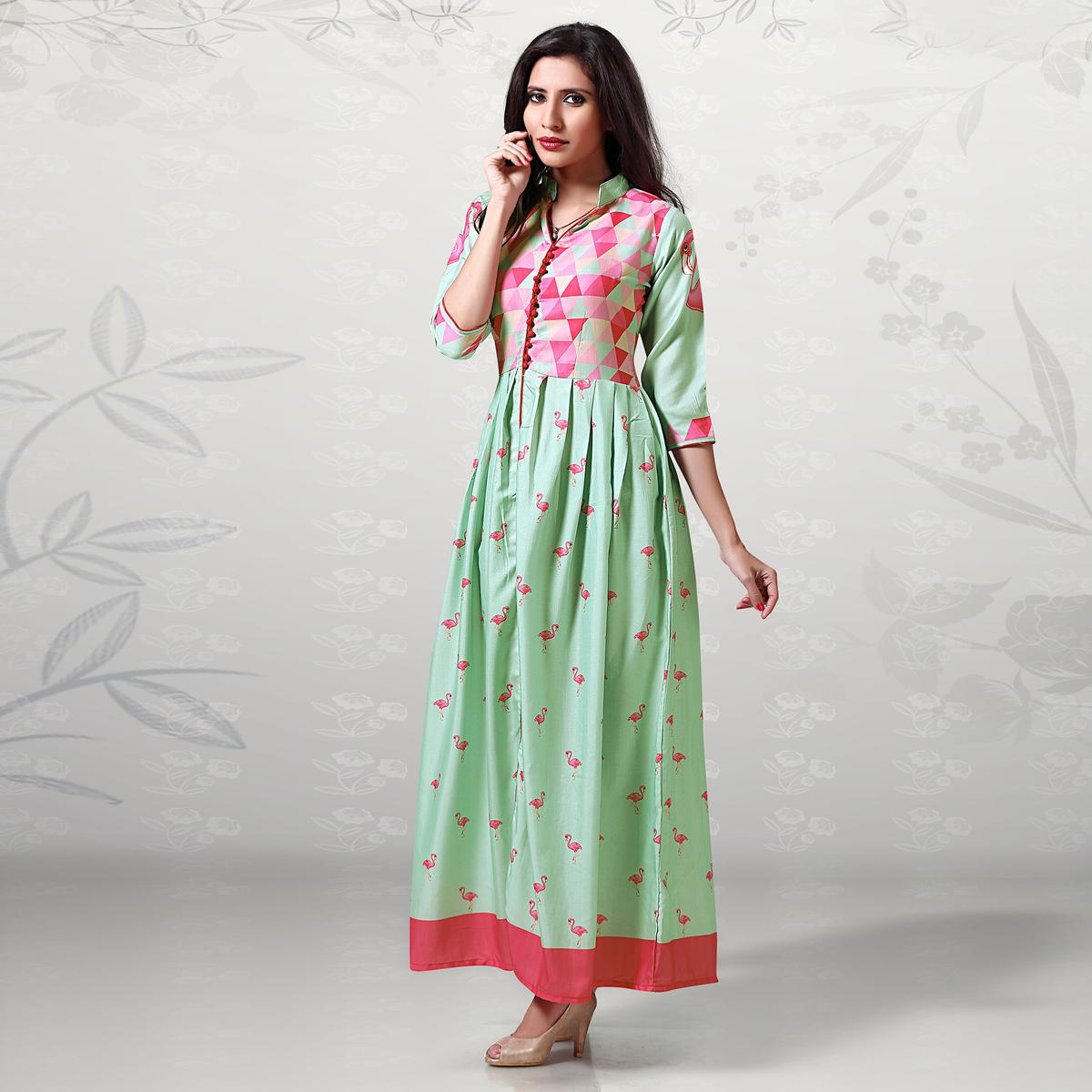Appealing Light Green Digital Printed Cotton Kurti