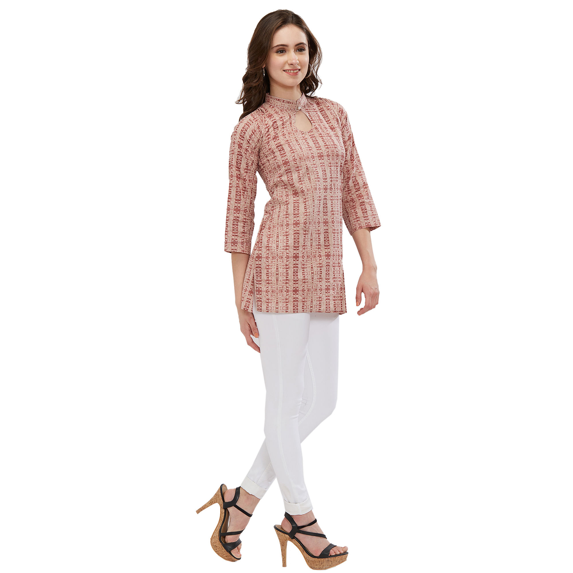Beautiful Beige Colored Casual Printed Short Kurti