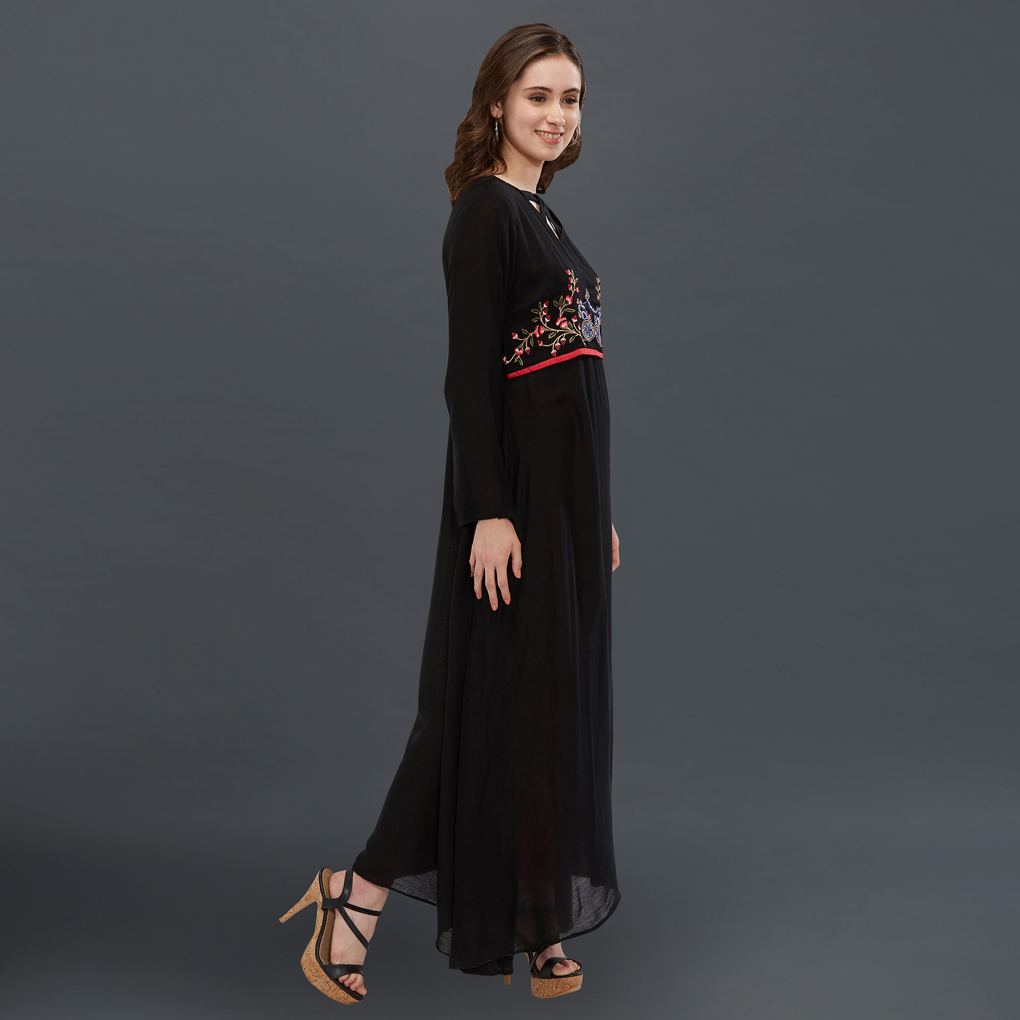 Flaunt Black Colored Partywear Embroidered Long Kurti