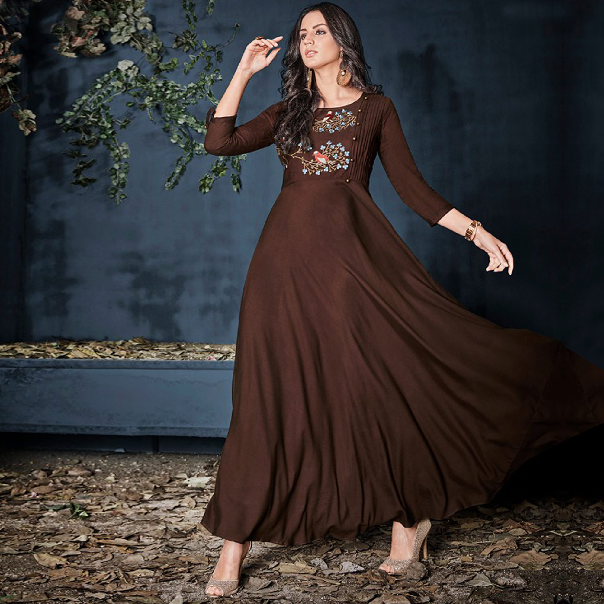 Amazing Brown Colored Partywear Embroidered Long Kurti