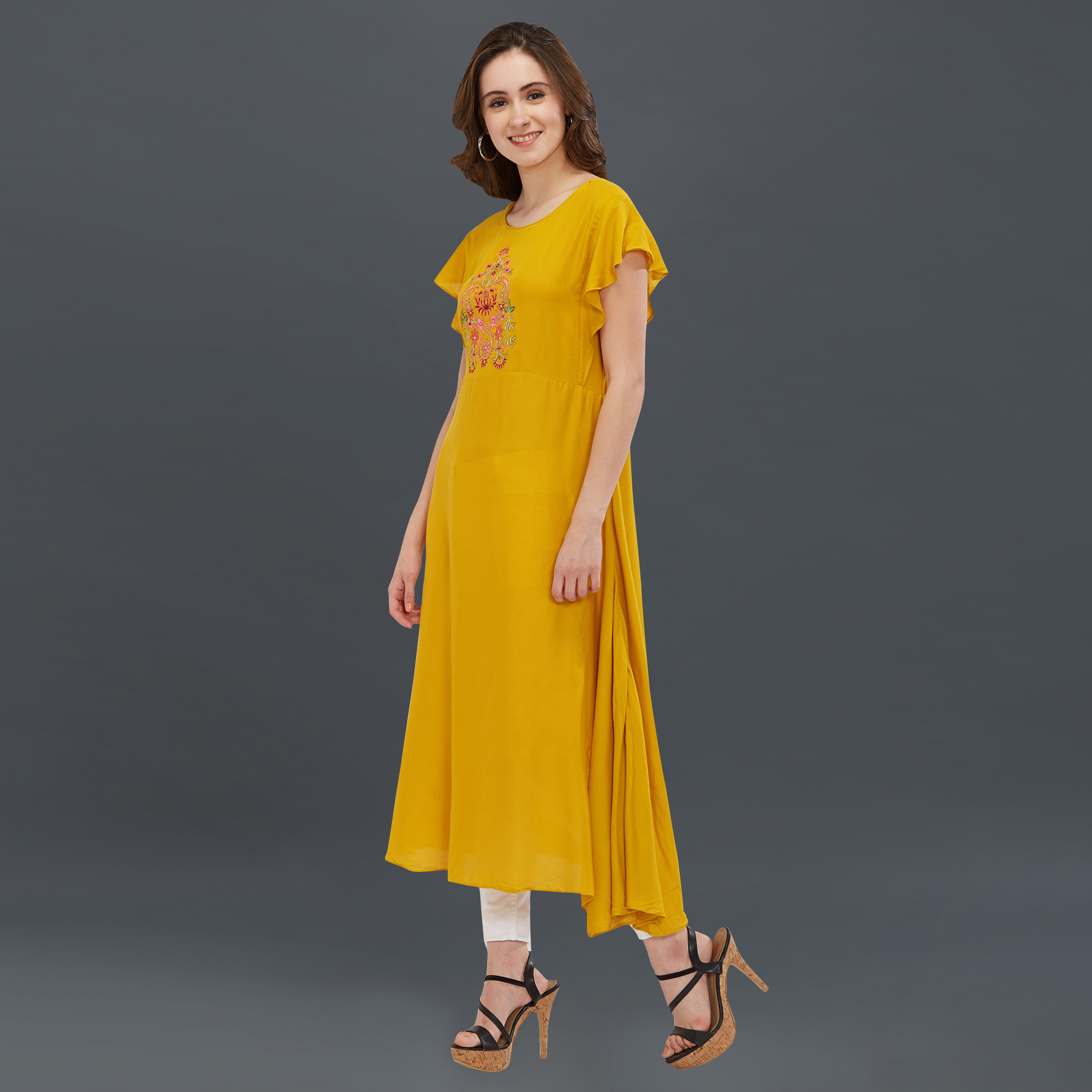 Blooming Yellow Colored Partywear Embroidered Long Kurti