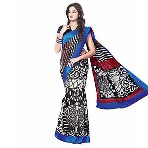 Black - White Bhagalpuri Silk Saree