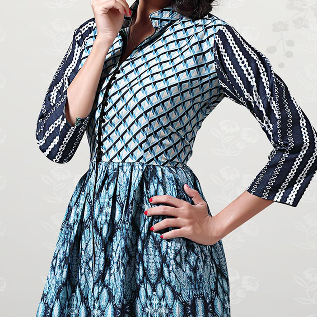 Stunning Blue Digital Printed Cotton Kurti
