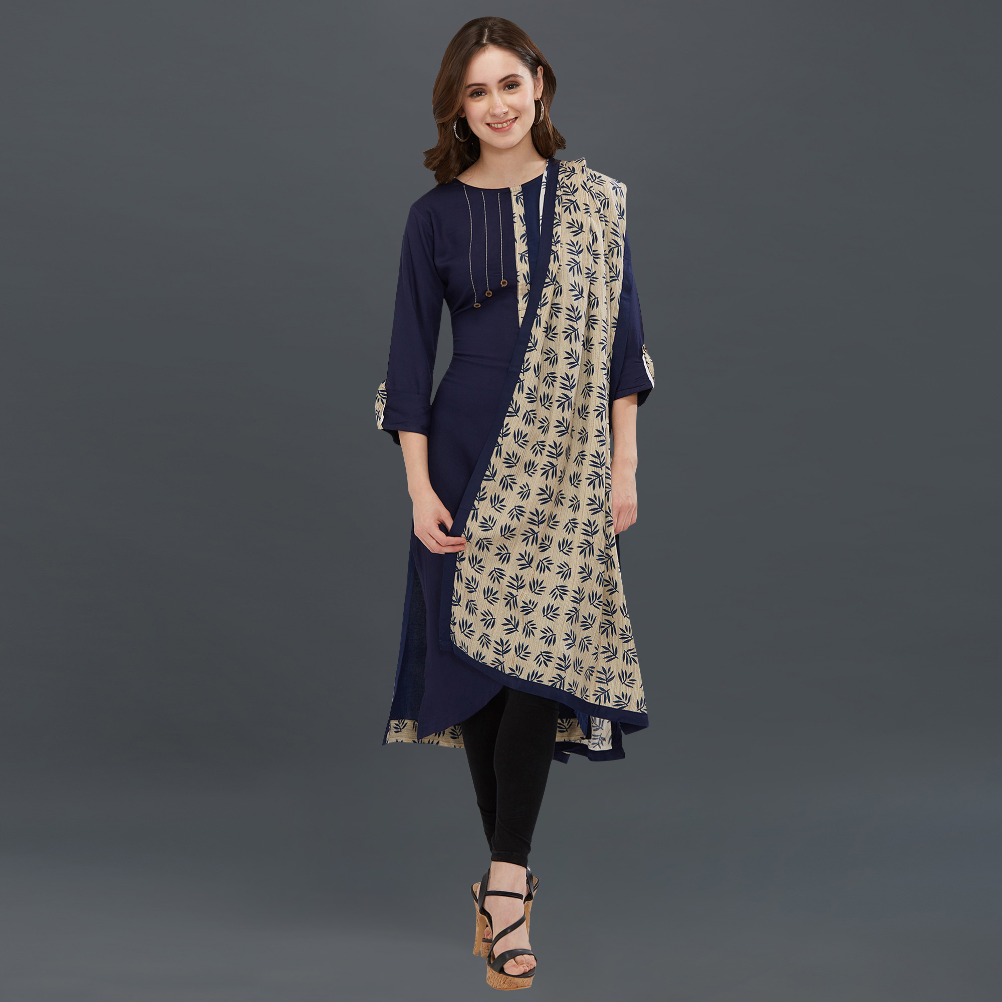Flattering Navy Blue Colored Partywear Printed Long Kurti