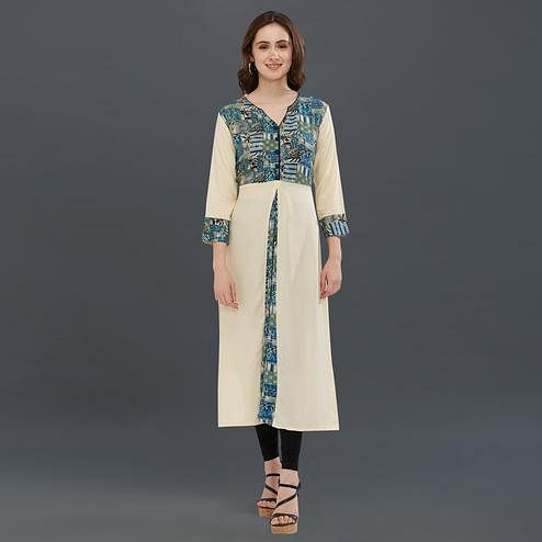 Eye-Catching Cream Colored Casual Printed Kurti