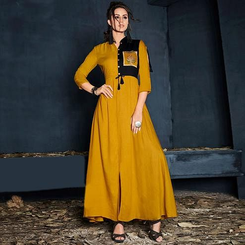 Staring Yellow Colored Partywear Embroidered Kurti