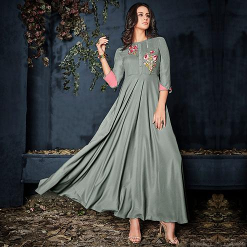 Trendy Gray Colored Partywear Embroidered Kurti
