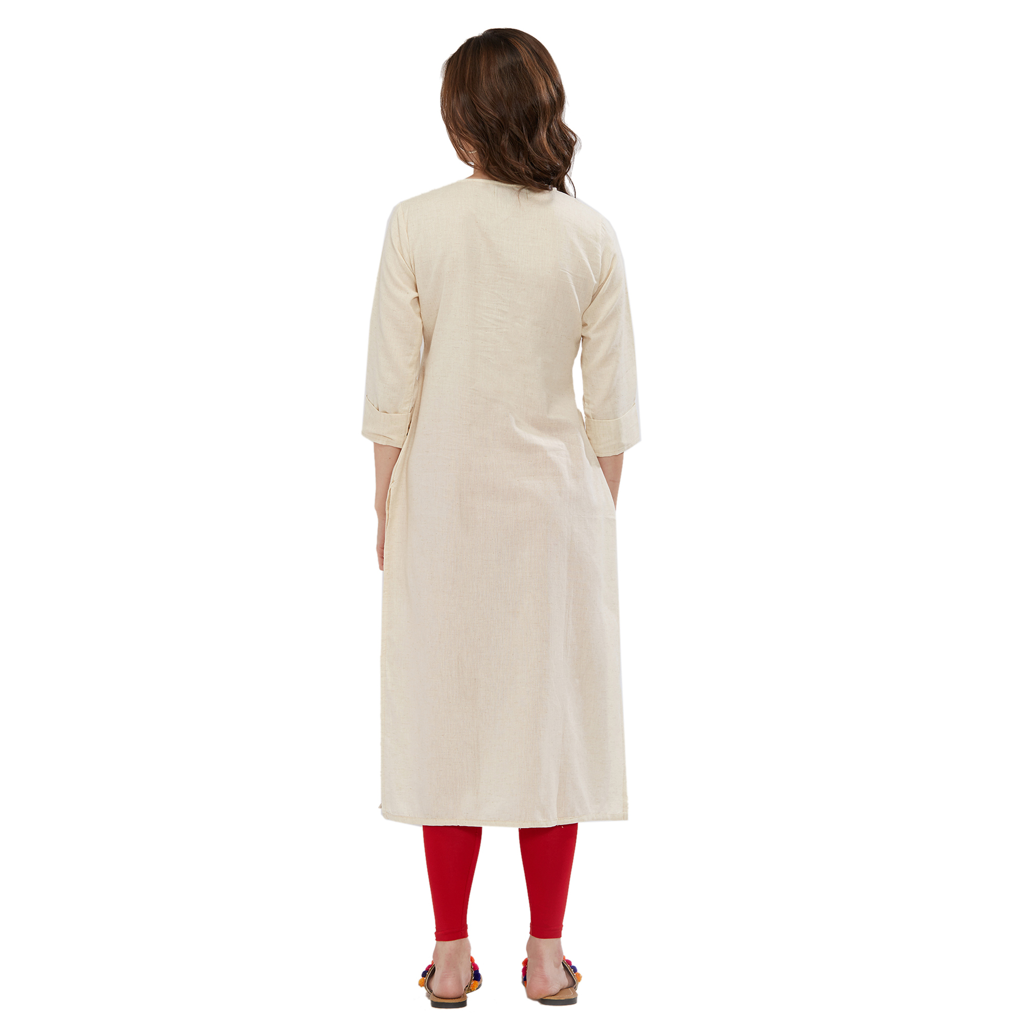 Magnetic Off-White Colored Partywear Embroidered Kurti