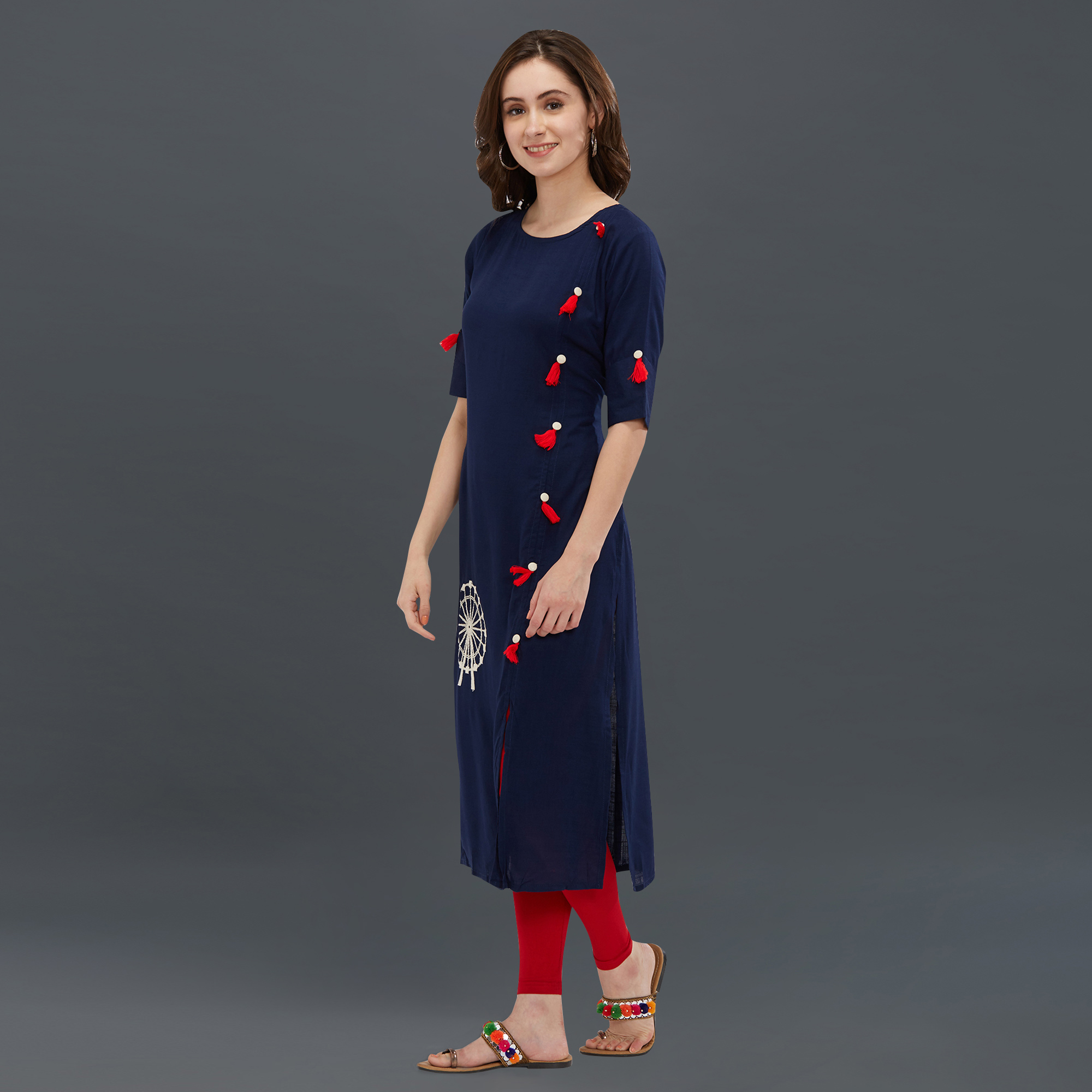 Stunning Navy Blue Colored Partywear Long Kurti