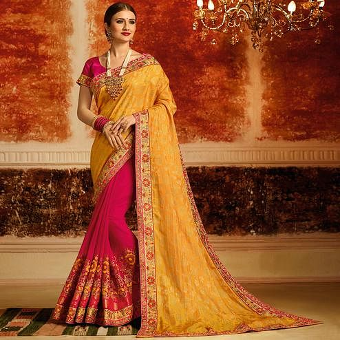 Amazing Yellow-Pink Colored Partywear Embroidered Jacquard Silk-Georgette Half-Half Saree
