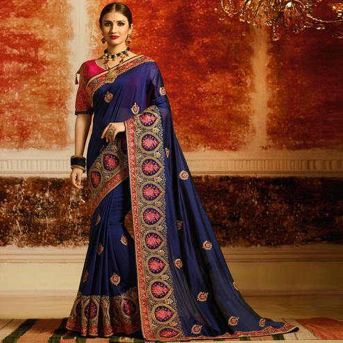Attractive Navy Blue Colored Partywear Embroidered Silk Saree