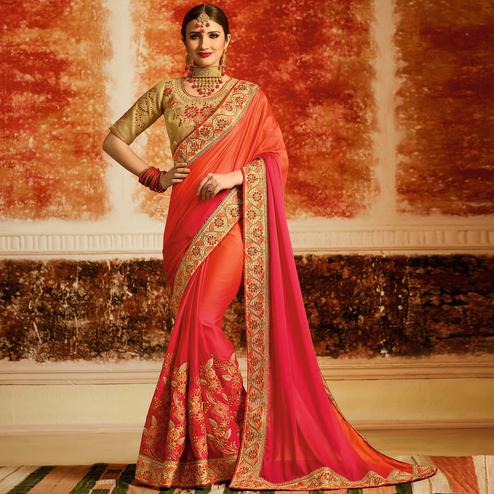 Unique Peach-Pink Colored Partywear Embroidered Silk Saree