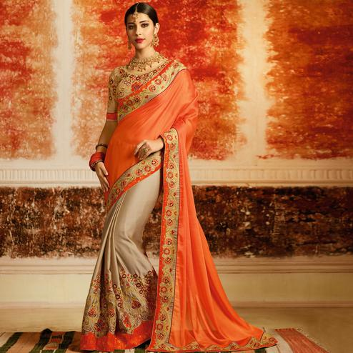 Appealing Orange-Beige Colored Partywear Embroidered Silk Half-Half Saree