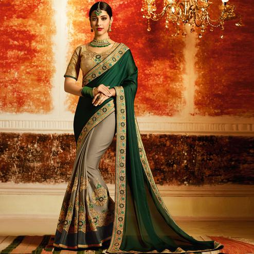 Stunning Dark Green-Gray Colored Partywear Embroidered Georgette-Silk Half-Half Saree