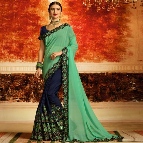 Refreshing Green-Blue Colored Partywear Embroidered Georgette Half-Half Saree