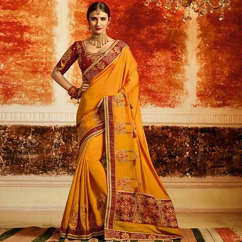 Traditional Yellow Colored Partywear Embroidered Silk Saree