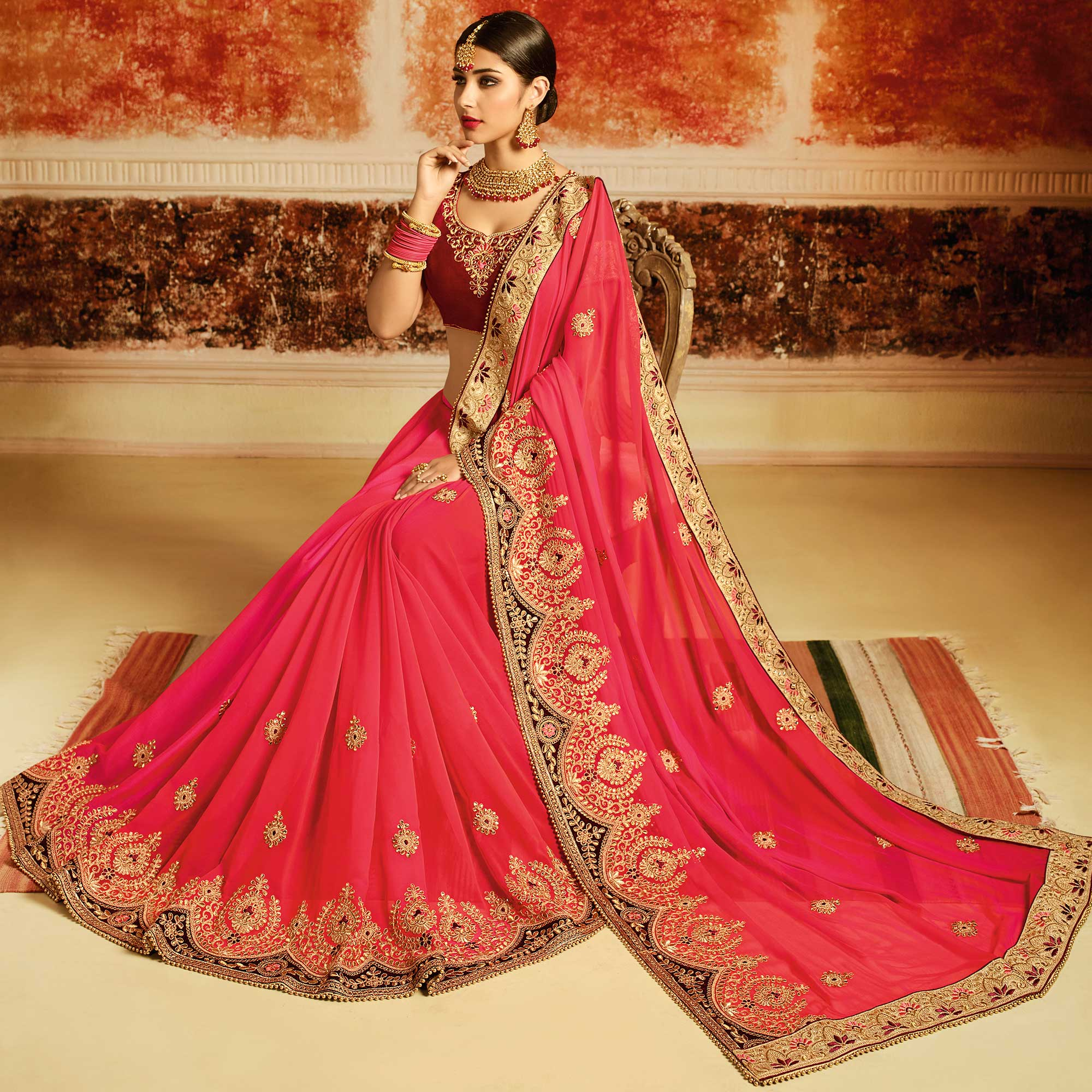 Arresting Pink Colored Partywear Embroidered Georgette Saree