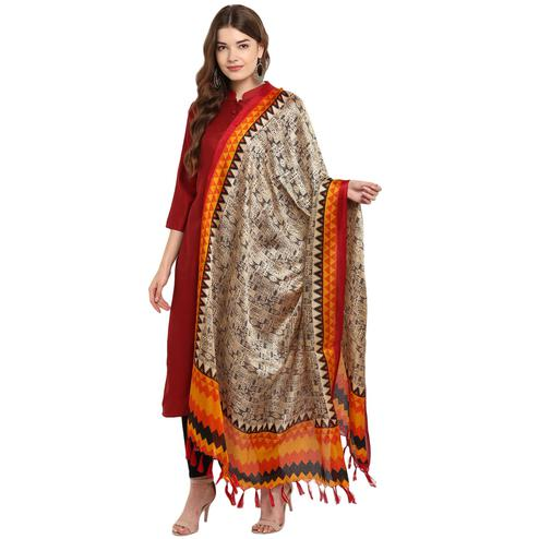 Imposing Beige-Orange Colored Casual Printed Khadi Silk Dupatta