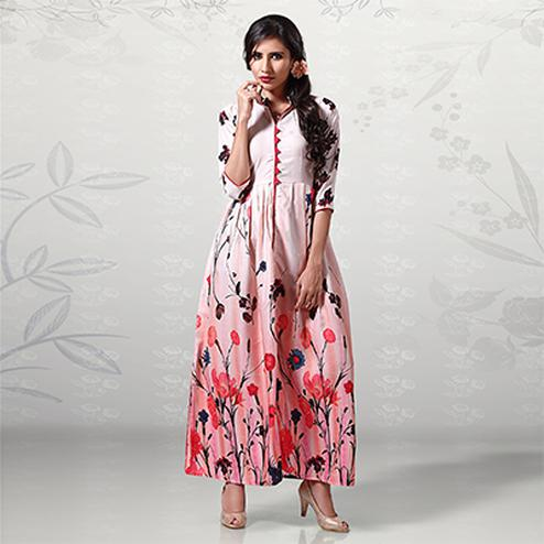 Gorgeous Light Pink Digital Printed Cotton Kurti