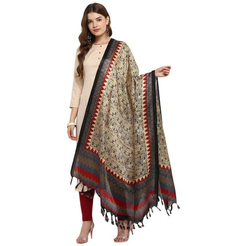 Blissful Beige-Grey Colored Casual Printed Khadi Silk Dupatta