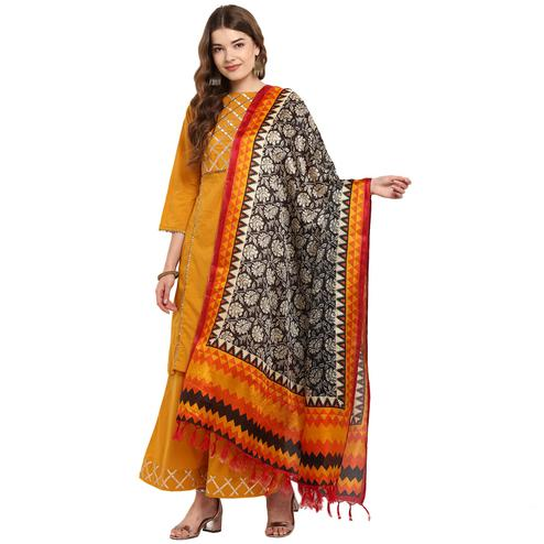 Ideal Black-Mustard Yellow Colored Casual Printed Khadi Silk Dupatta