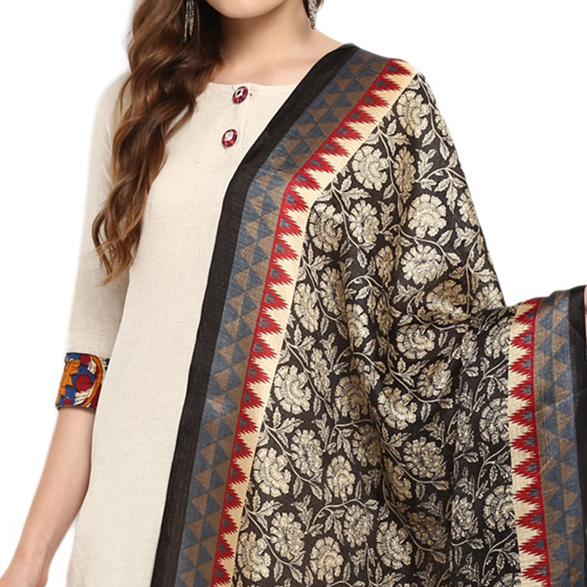 Fantastic Black-Brown Colored Casual Printed Khadi Silk Dupatta