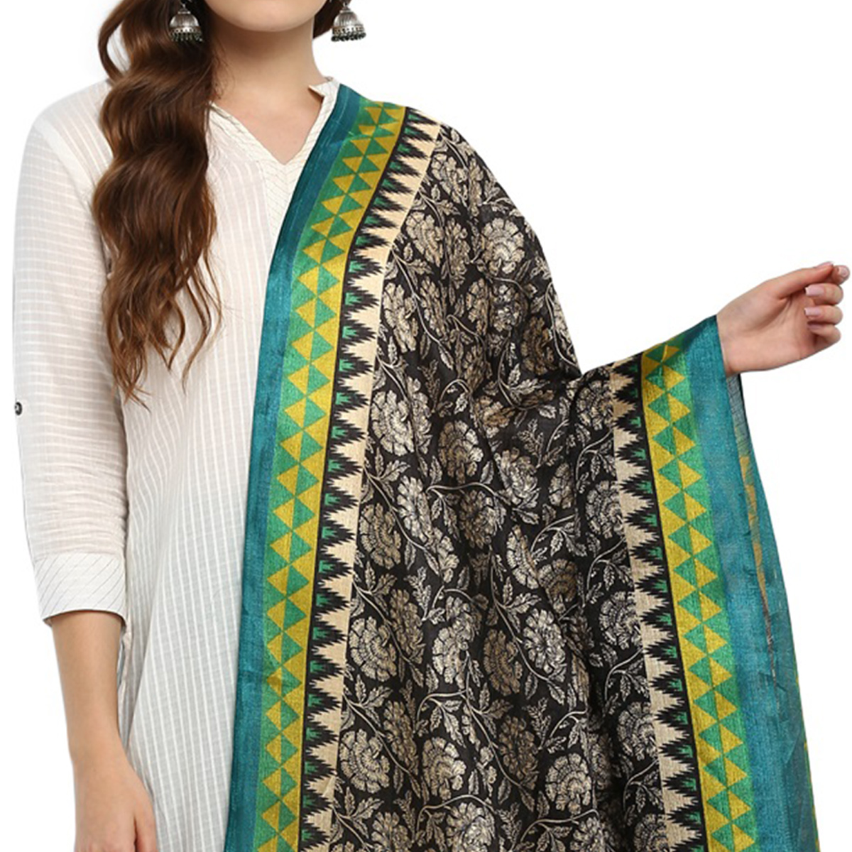 Engrossing Black-Green Colored Casual Printed Khadi Silk Dupatta