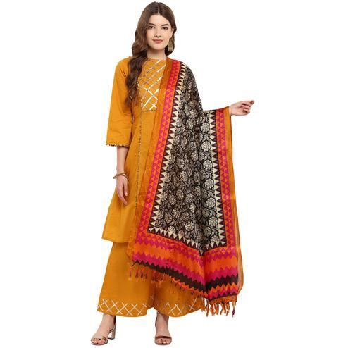 Staring Black-Orange Colored Casual Printed Khadi Silk Dupatta
