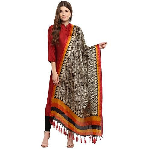 Elegant Black-Orange Colored Casual Printed Khadi Silk Dupatta