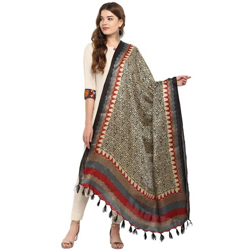Alluring Black-Grey Colored Casual Printed Khadi Silk Dupatta