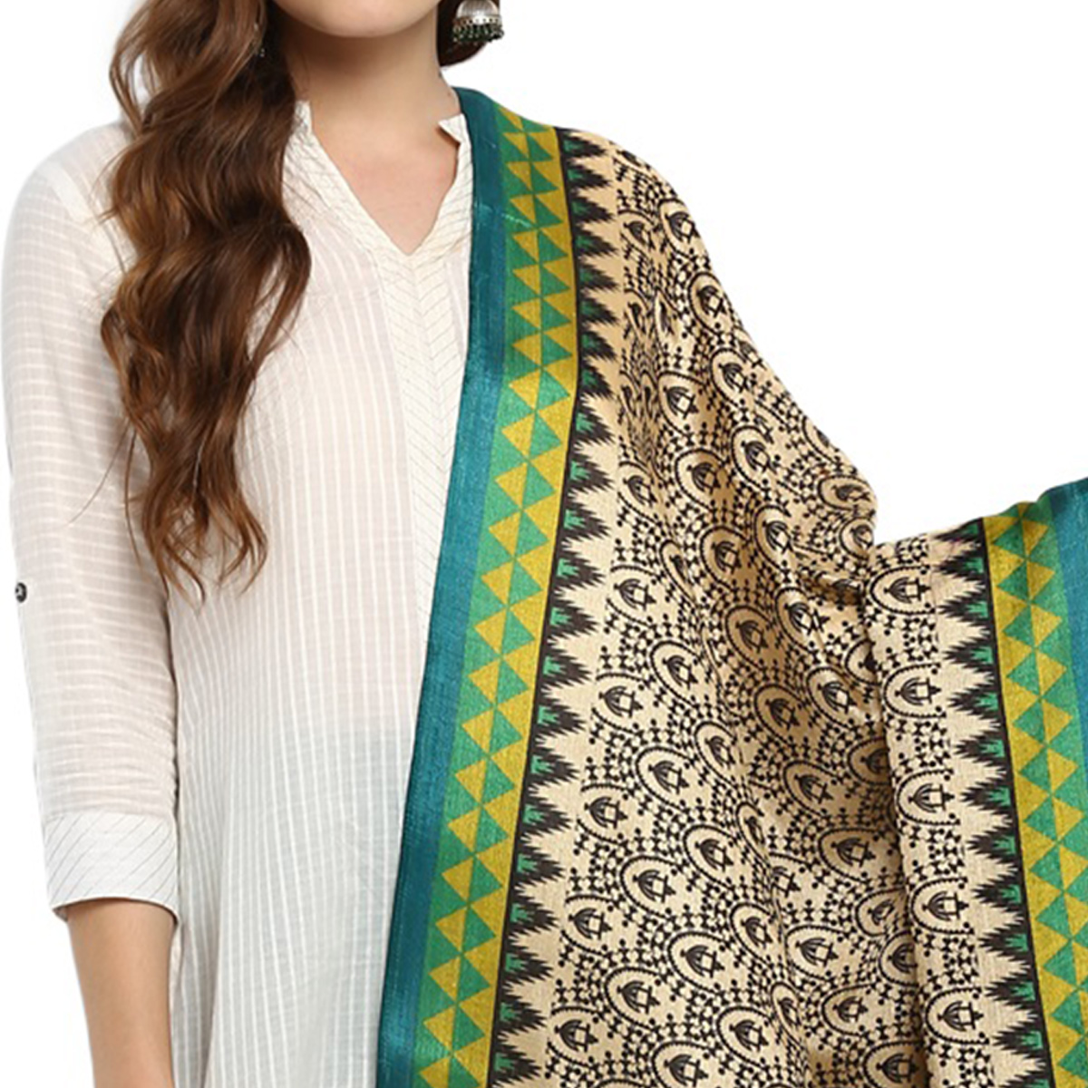 Deserving Beige-Green Colored Casual Printed Khadi Silk Dupatta