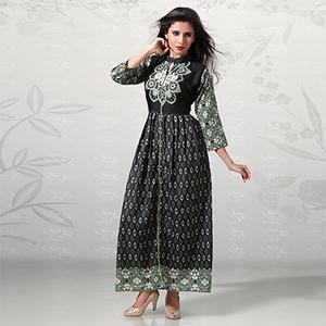 Graceful Black Digital Printed Cotton Kurti