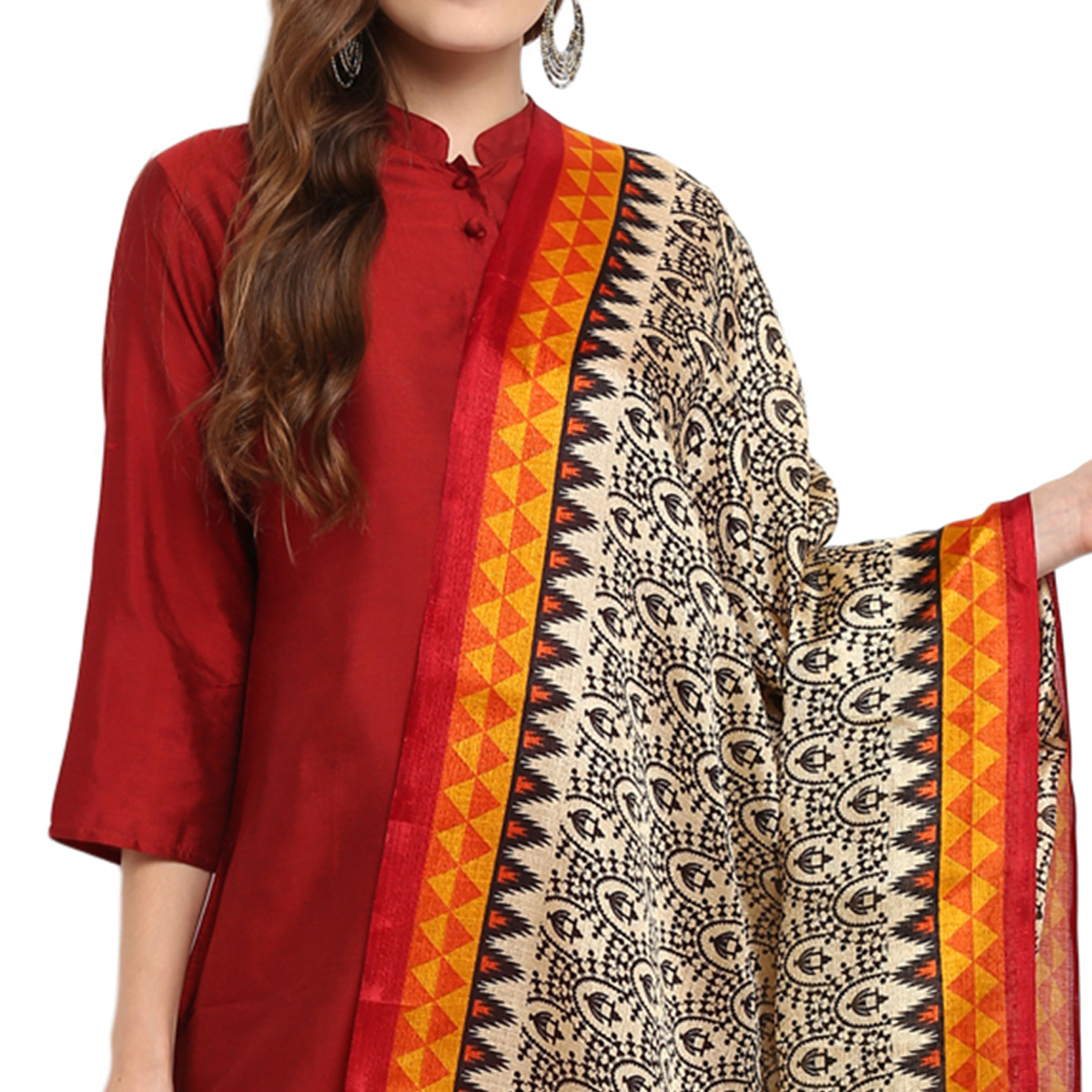 Energetic Beige-Mustard Yellow Colored Casual Printed Khadi Silk Dupatta