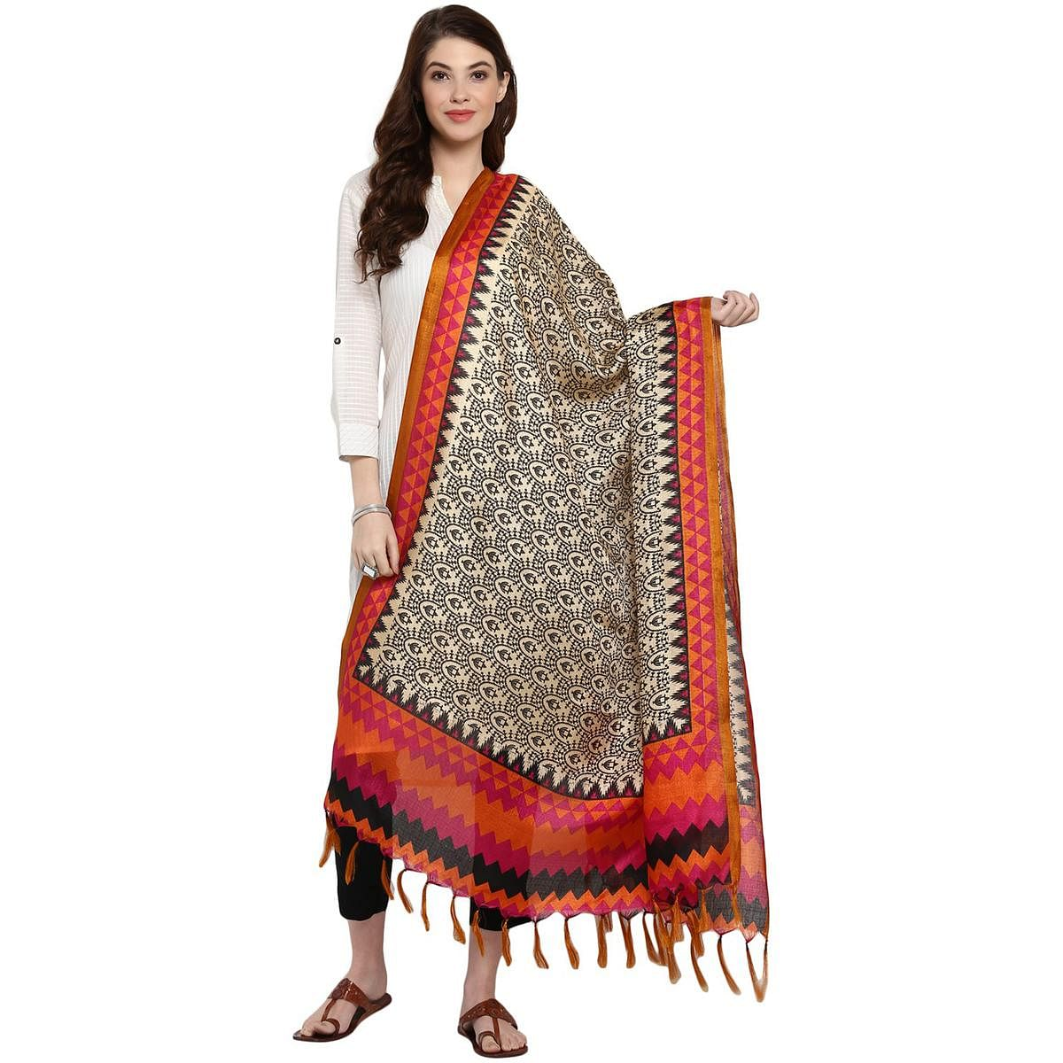 Extraordinary Beige-Orange Colored Casual Printed Khadi Silk Dupatta