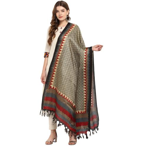 Capricious Pale Brown Colored Casual Printed Khadi Silk Dupatta