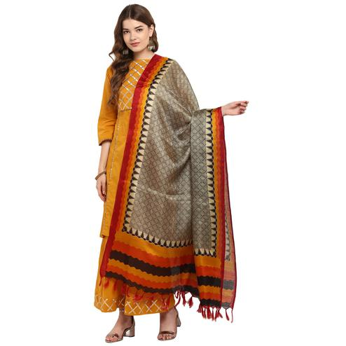 Snazzy Pale Brown-Orange Colored Casual Printed Khadi Silk Dupatta