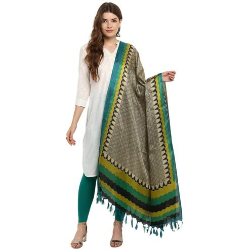 Awesome Pale Brown-Green Colored Casual Printed Khadi Silk Dupatta