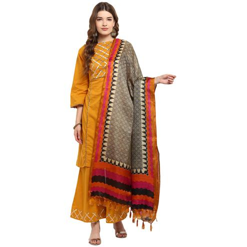 Precious Pale Brown-Pink Colored Casual Printed Khadi Silk Dupatta