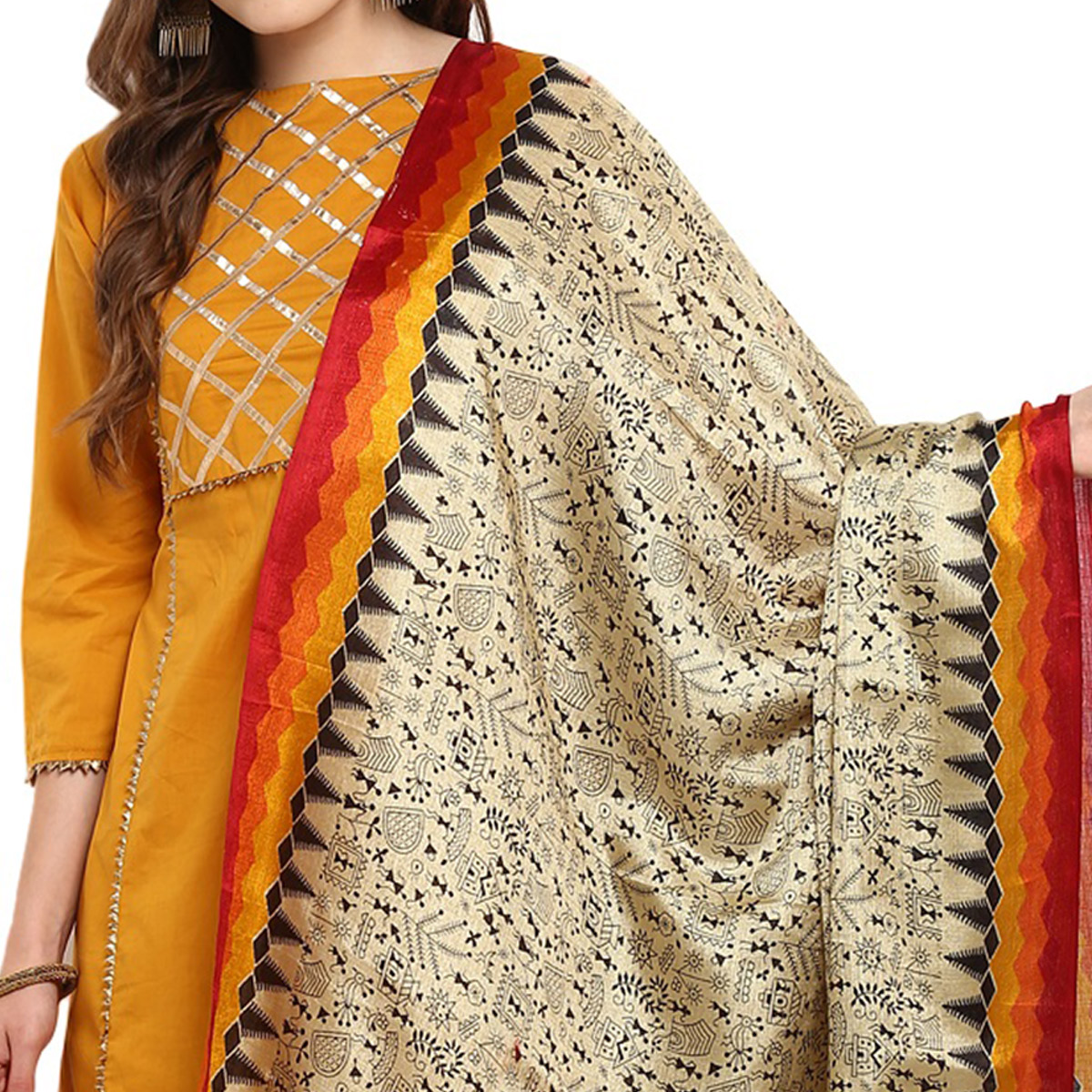 Starring Beige-Orange Colored Casual Printed Khadi Silk Dupatta