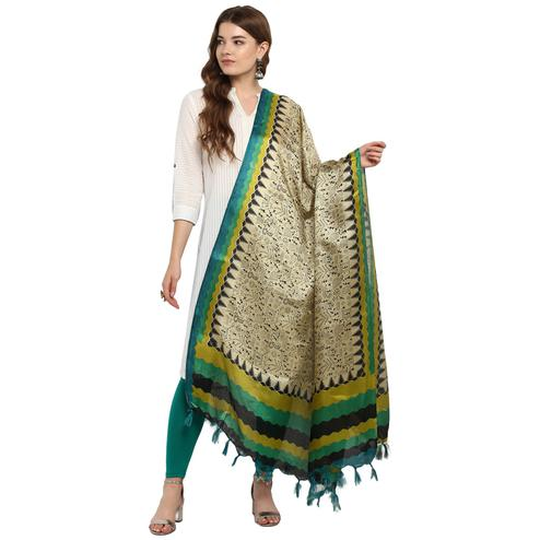 Eye-catching Beige-Green Colored Casual Printed Khadi Silk Dupatta