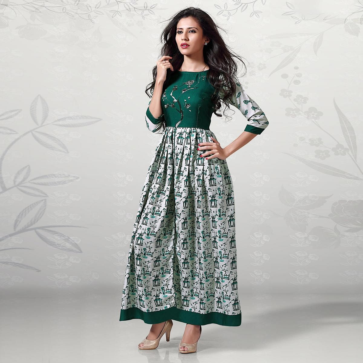 Charming Green Digital Printed Cotton Kurti