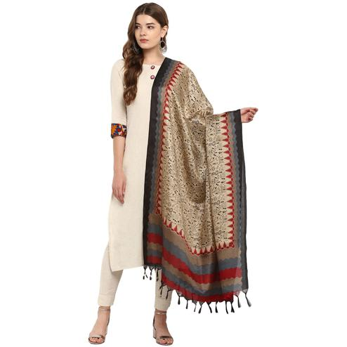 Exotic Beige-Grey Colored Casual Printed Khadi Silk Dupatta