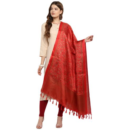 Majesty Red Colored Casual Printed Khadi Silk Dupatta